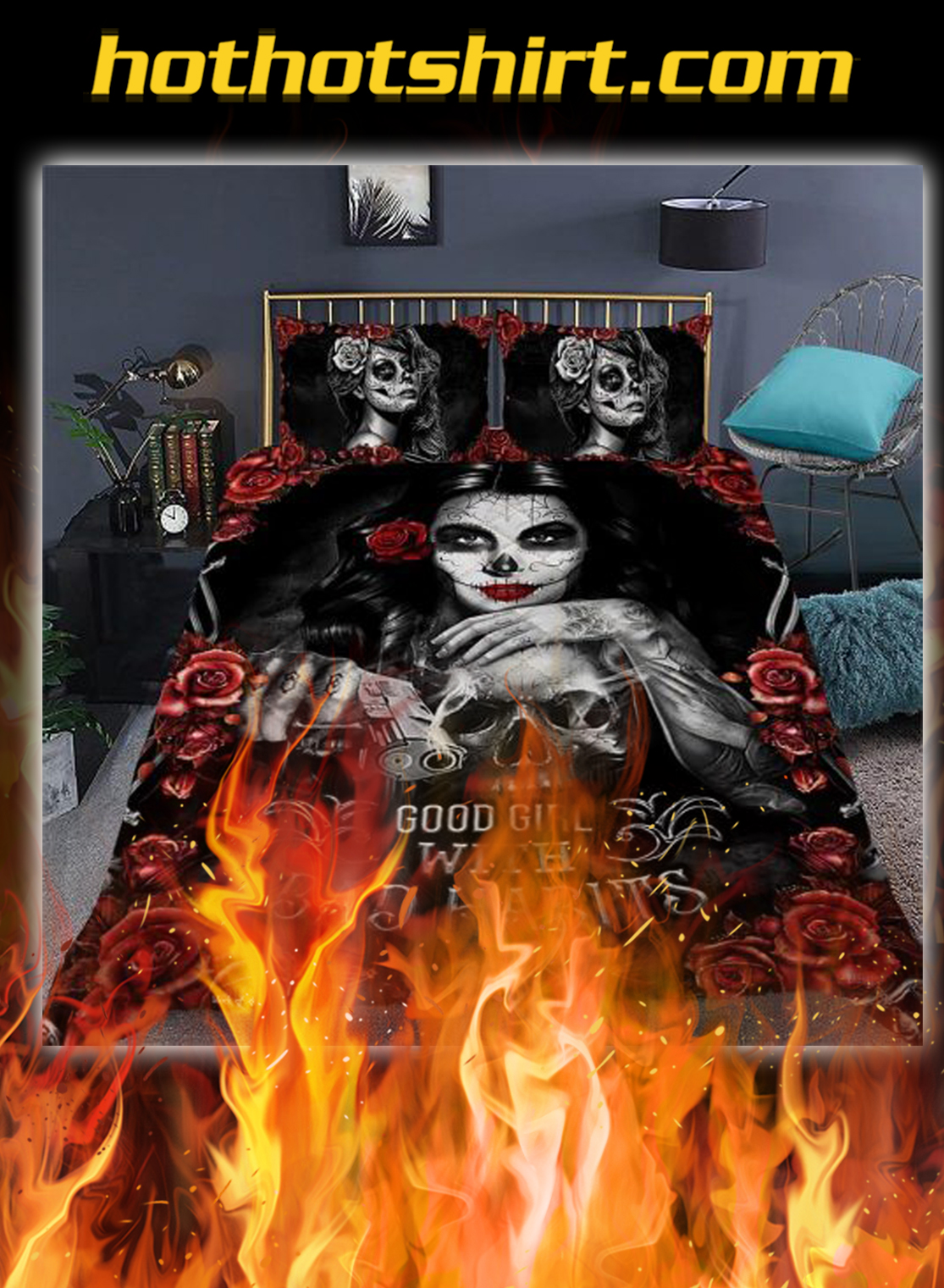 Skull girl good girl with bad habits quilt bedding set- twin