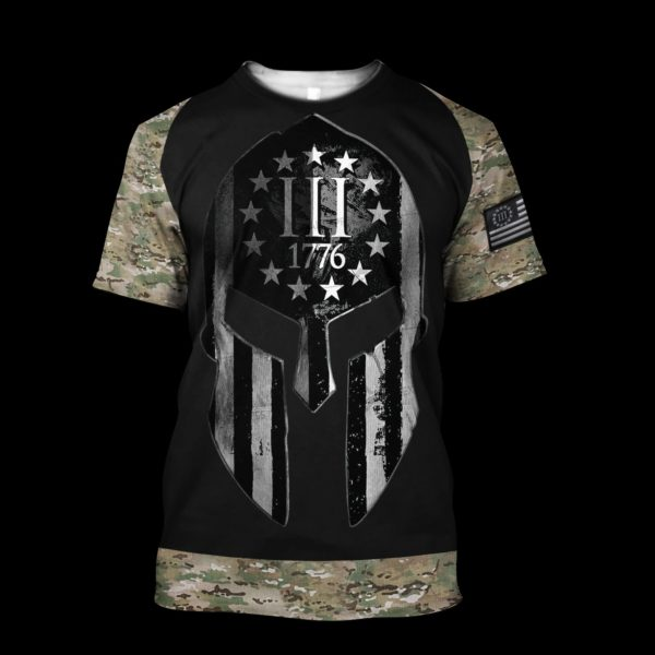 Spartan soldier three percenters 1776 3D all over printed hoodie, shirt 1