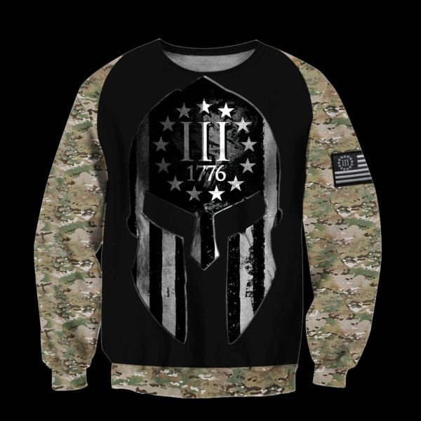 Spartan soldier three percenters 1776 3D all over printed hoodie, shirt 2