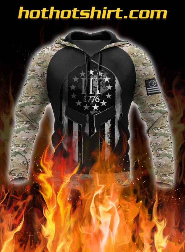 Spartan soldier three percenters 1776 3D all over printed hoodie, shirt