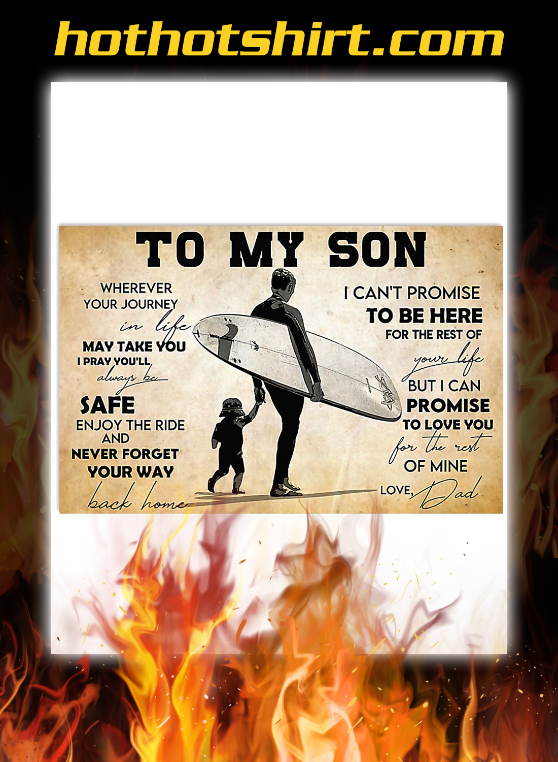 Surfing to my son dad poster