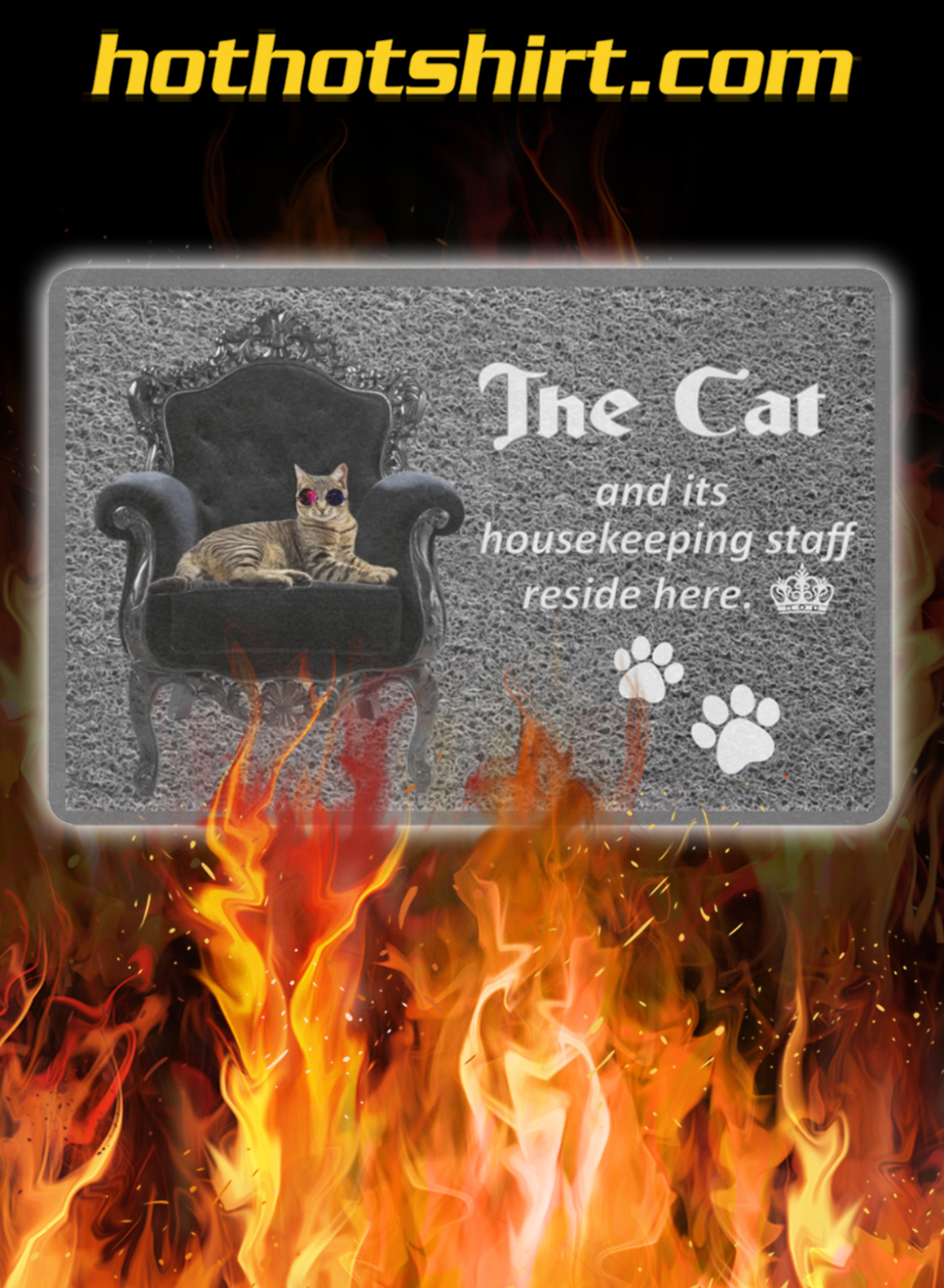 The cat and its housekeeping staff reside here doormat- pic 1