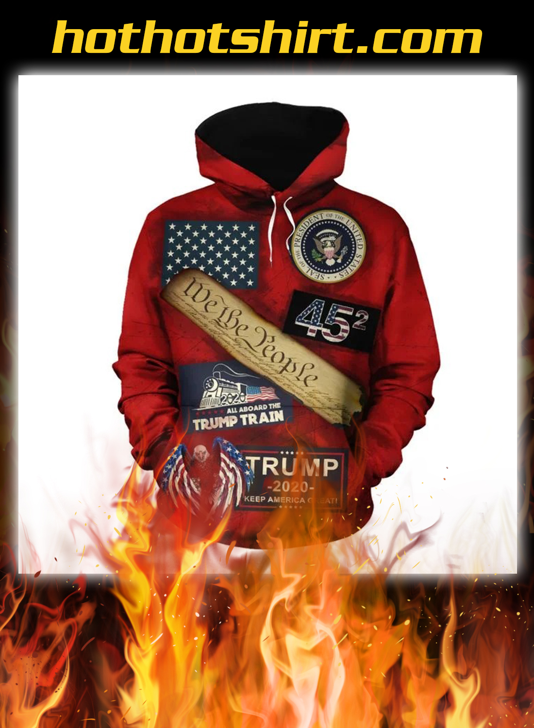 Trump maga we the people all aboard the trump train 3d all over hoodie 1