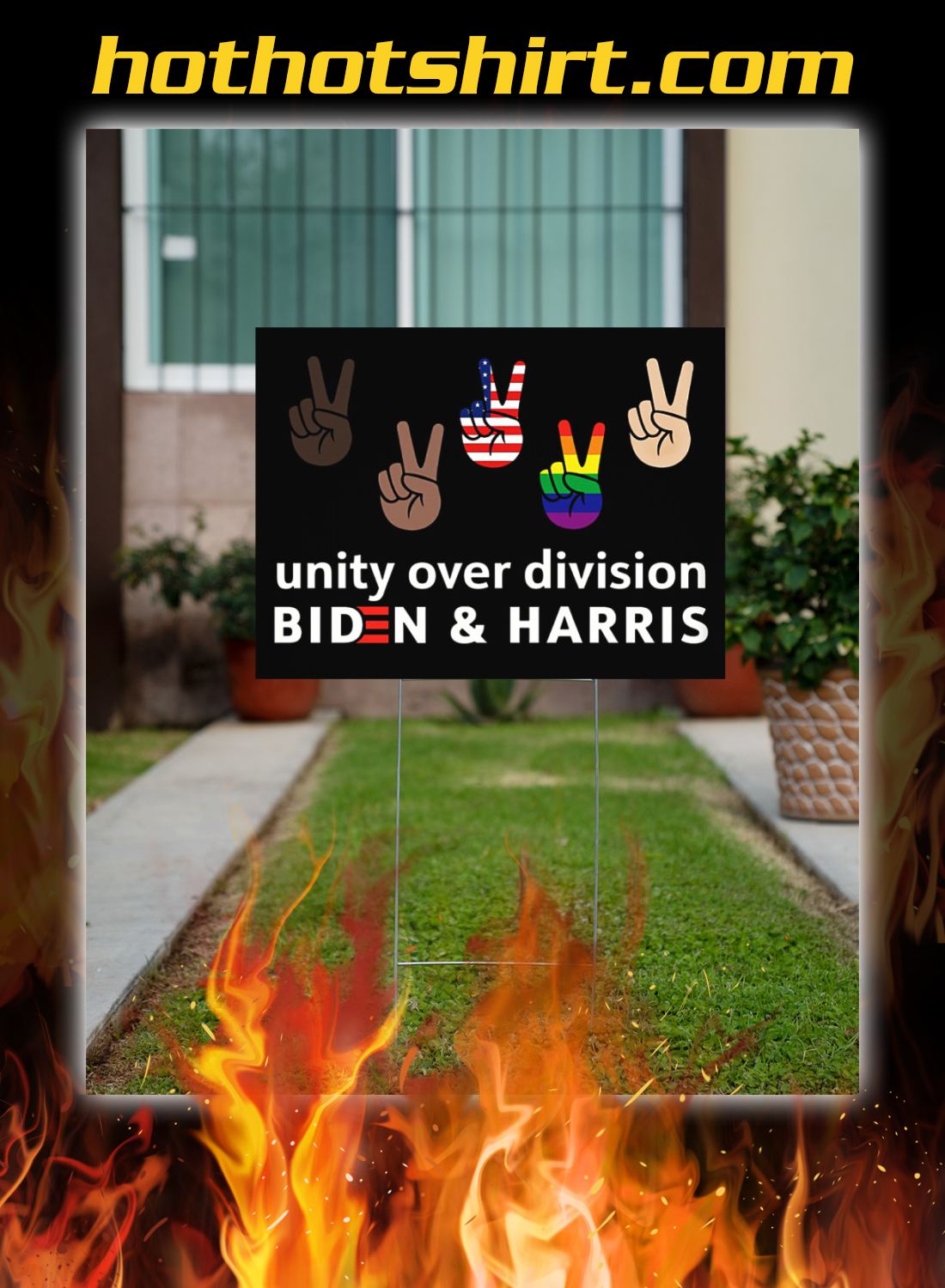 Unity over division biden and harris yard signs 2