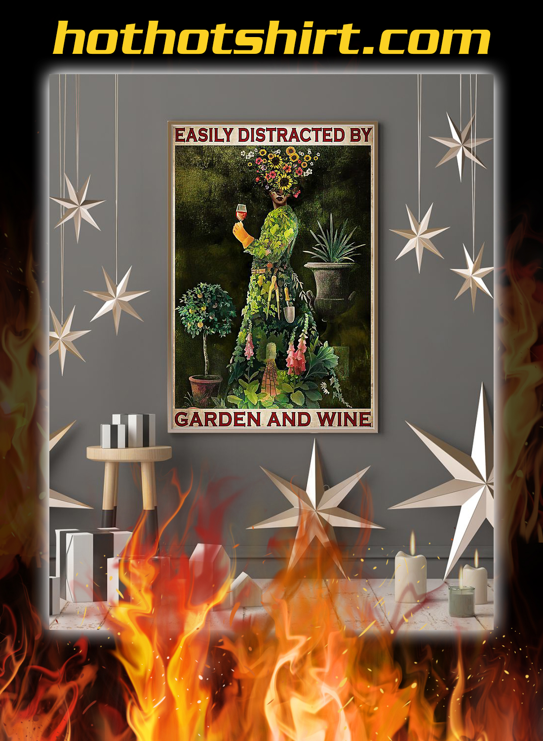 Woman Easily distracted by garden and wine poster 2