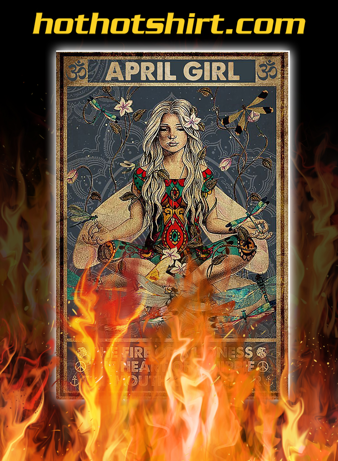 Yoga april girl the fire of a lioness poster- A3
