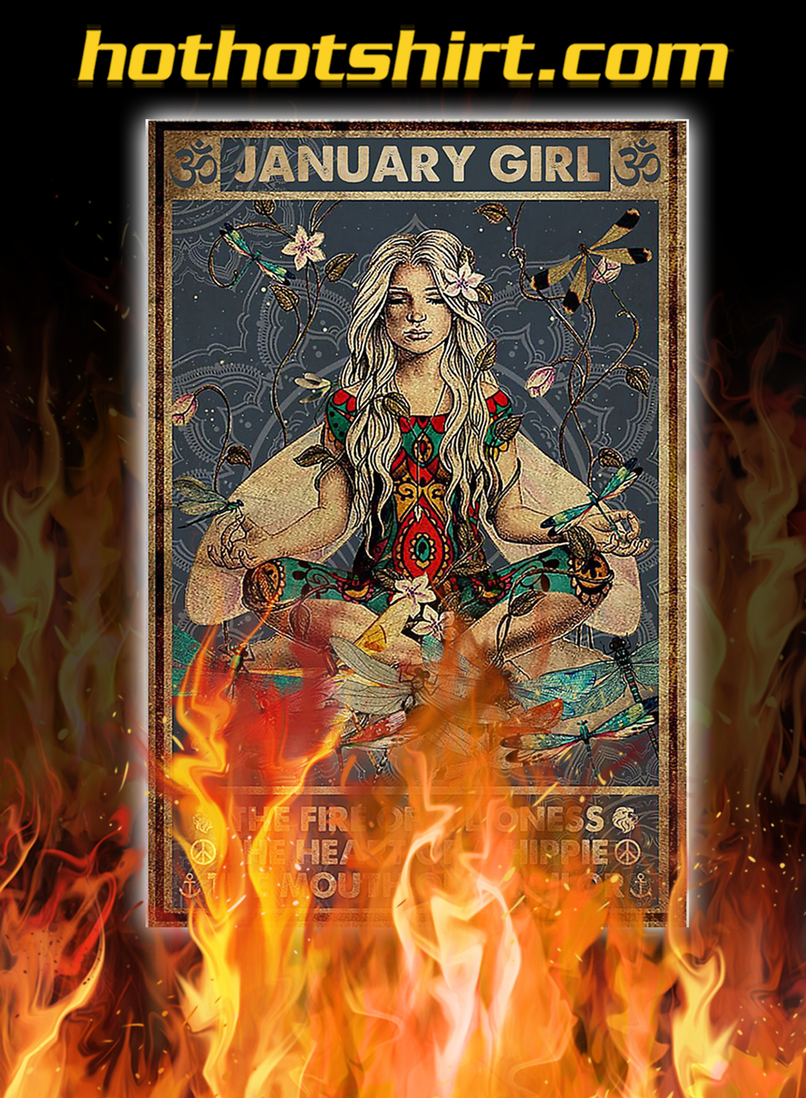 Yoga january girl the fire of a lioness poster - A2