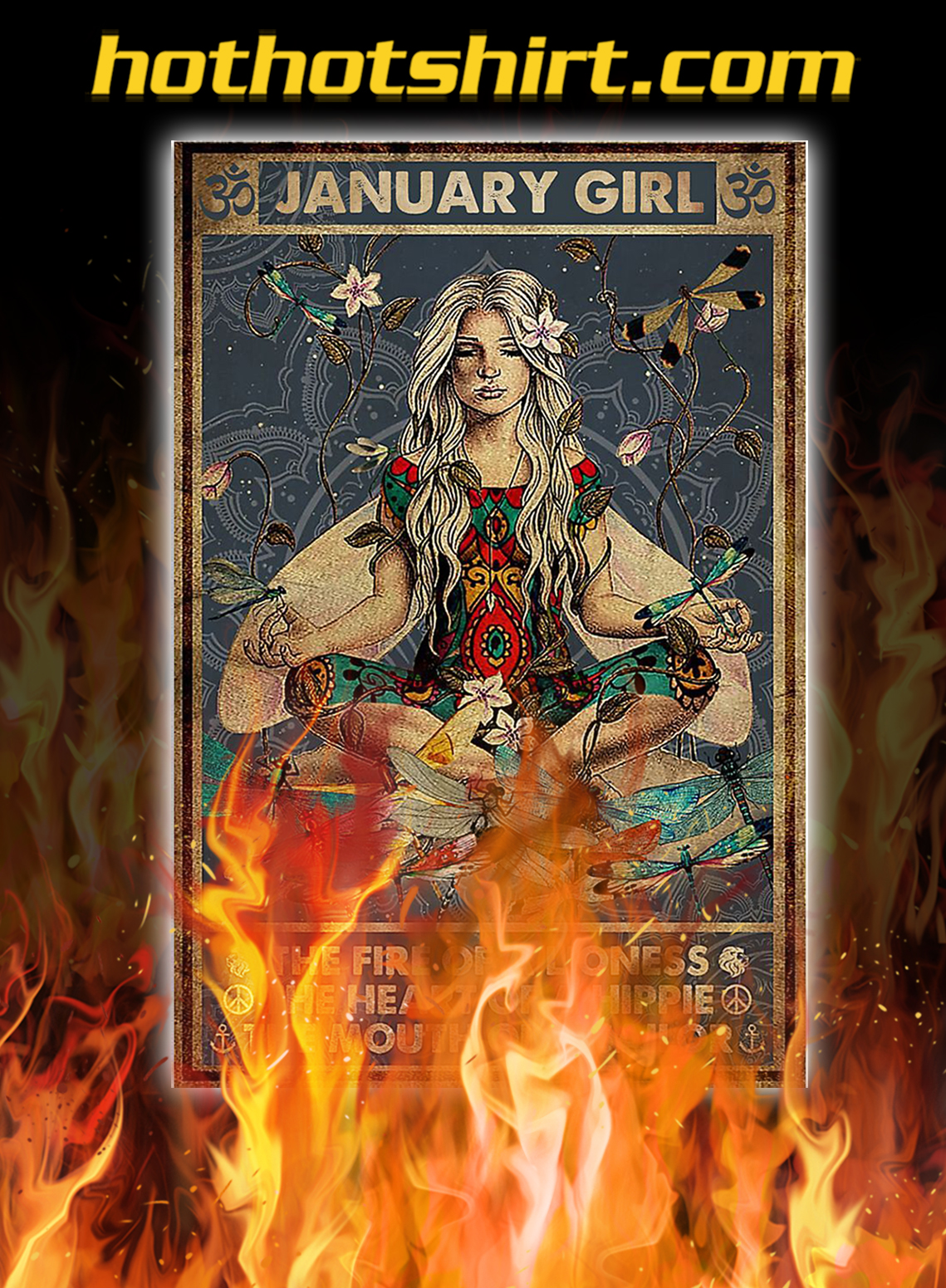 Yoga january girl the fire of a lioness poster - A3