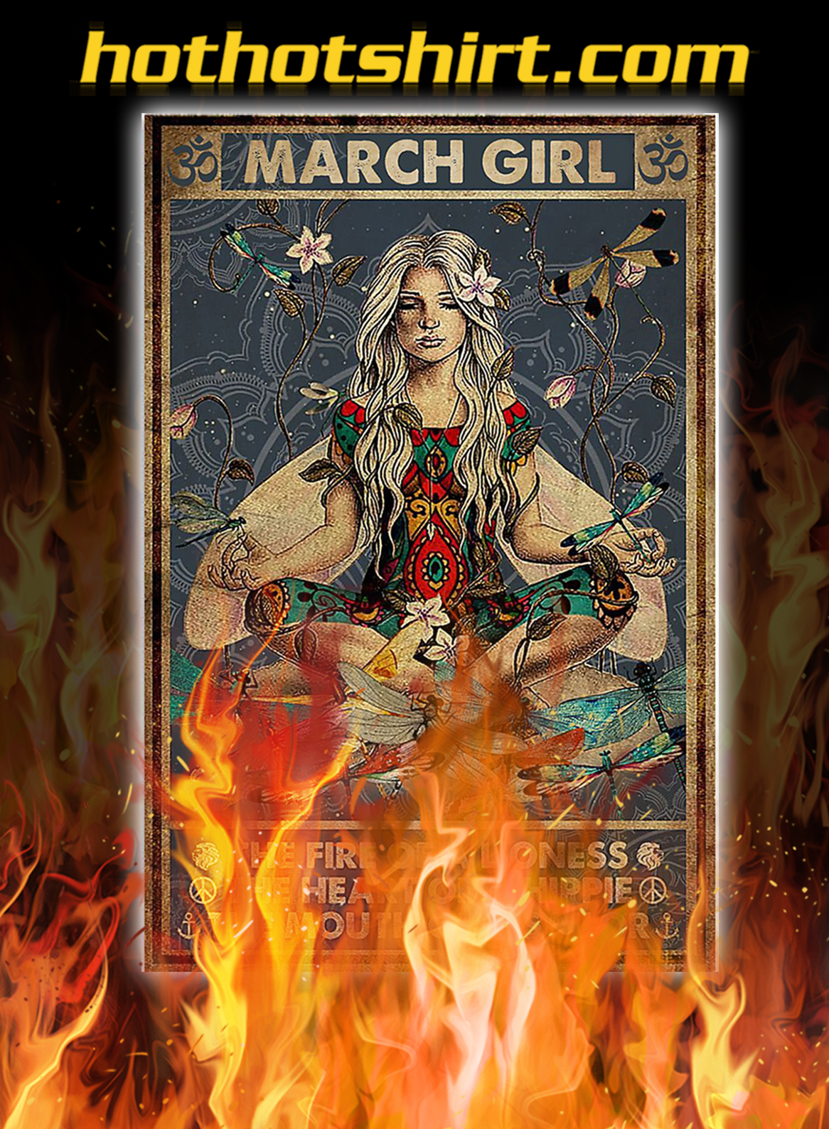 Yoga march girl the fire of a lioness poster- A2