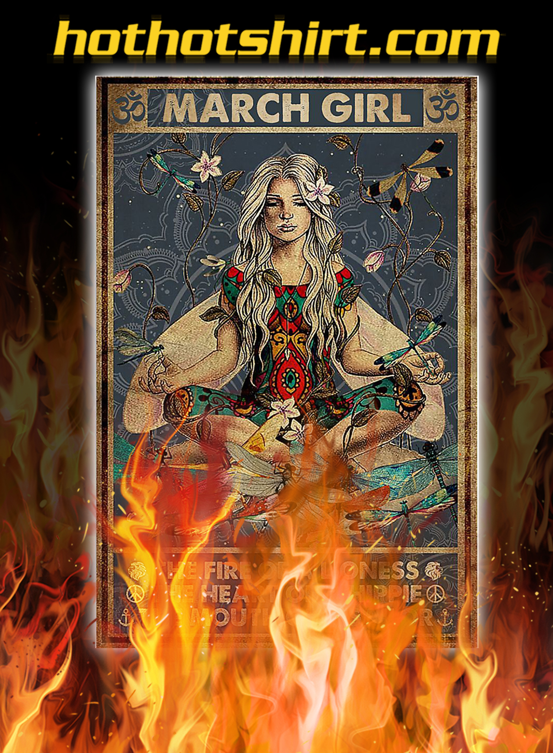 Yoga march girl the fire of a lioness poster- A4