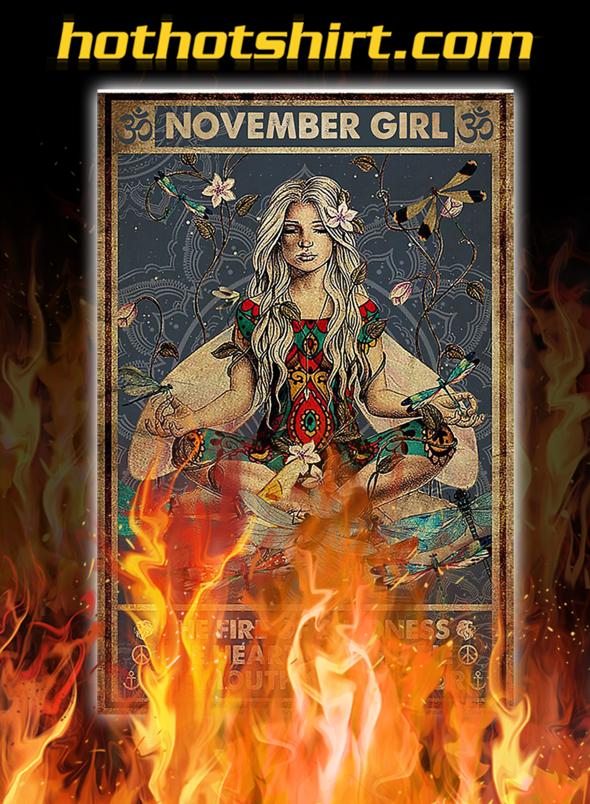 Yoga november girl the fire of a lioness poster - A4
