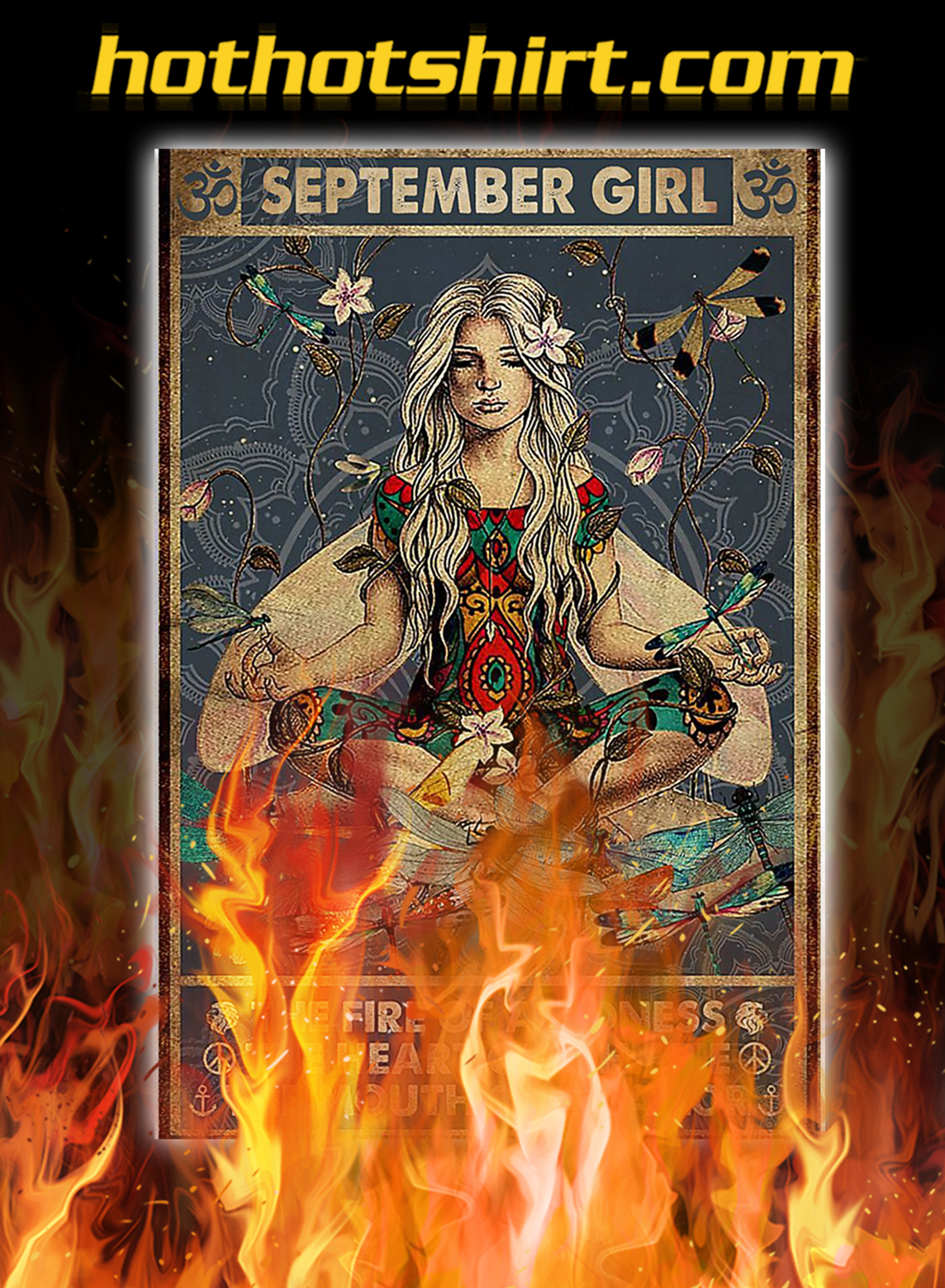 Yoga september girl the fire of a lioness poster - A2