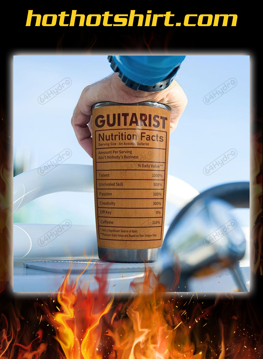 Acoustic Guitar Nutrition Facts Personalized Custom Name tumbler 2