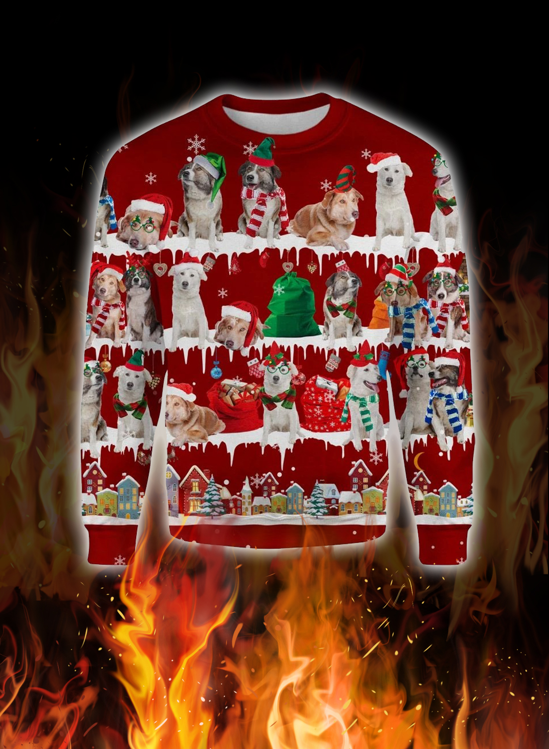 Aidi Dog snow christmas ugly sweater 1