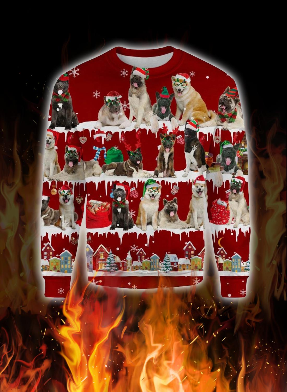 Akita Dog snow christmas ugly sweater 1