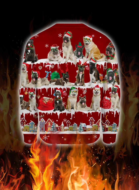 Akita Dog snow christmas ugly sweater 2