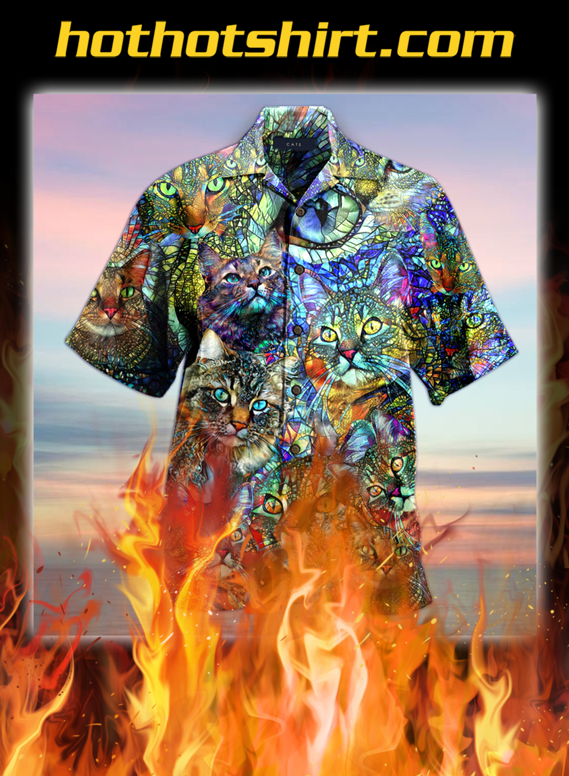 Amazing kaleidoscope cat unisex hawaiian shirt- pic 1