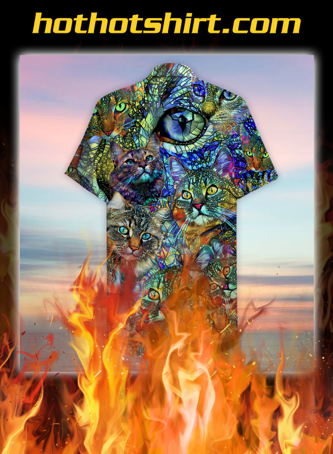 Amazing kaleidoscope cat unisex hawaiian shirt- pic 2