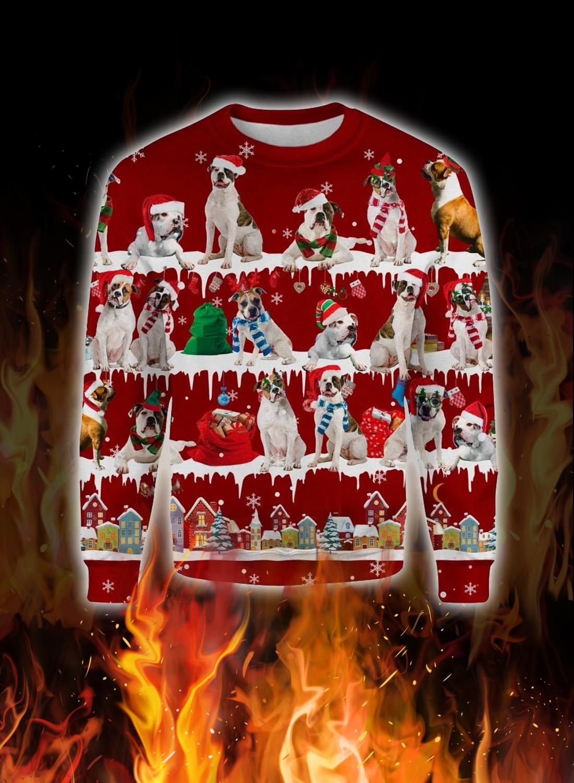 American Bulldog snow christmas ugly sweater 1