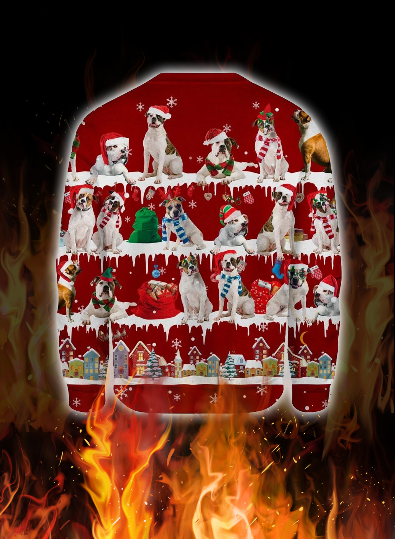American Bulldog snow christmas ugly sweater 2