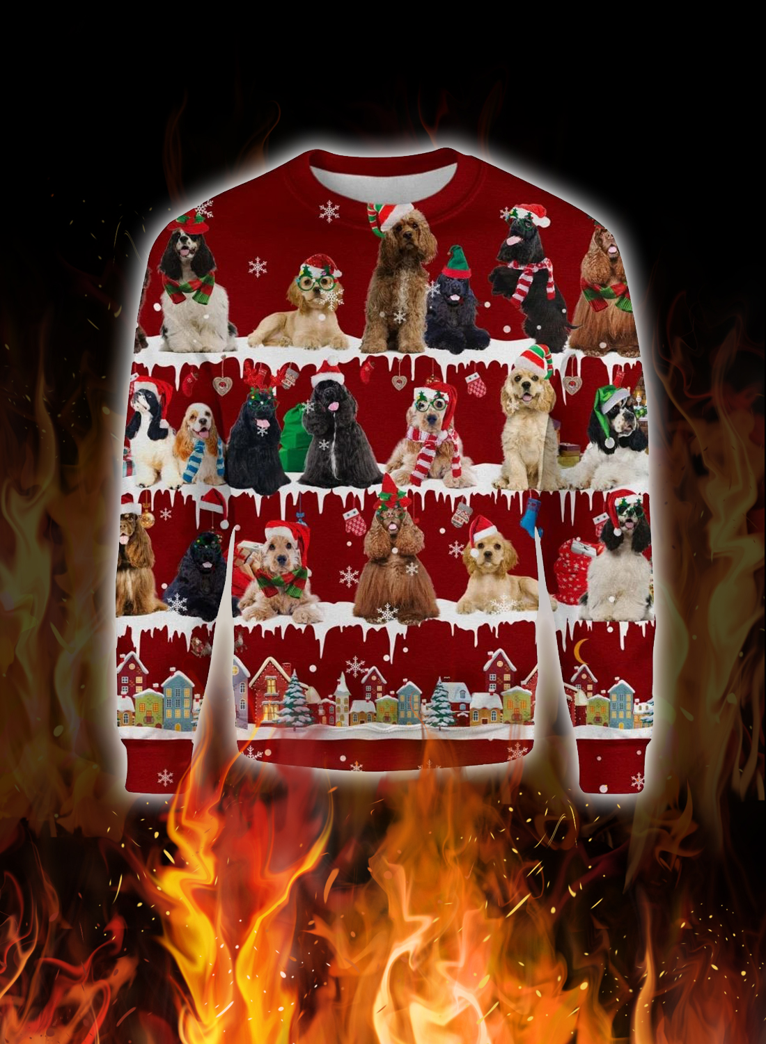 American Cocker Spaniel snow christmas ugly sweater 1