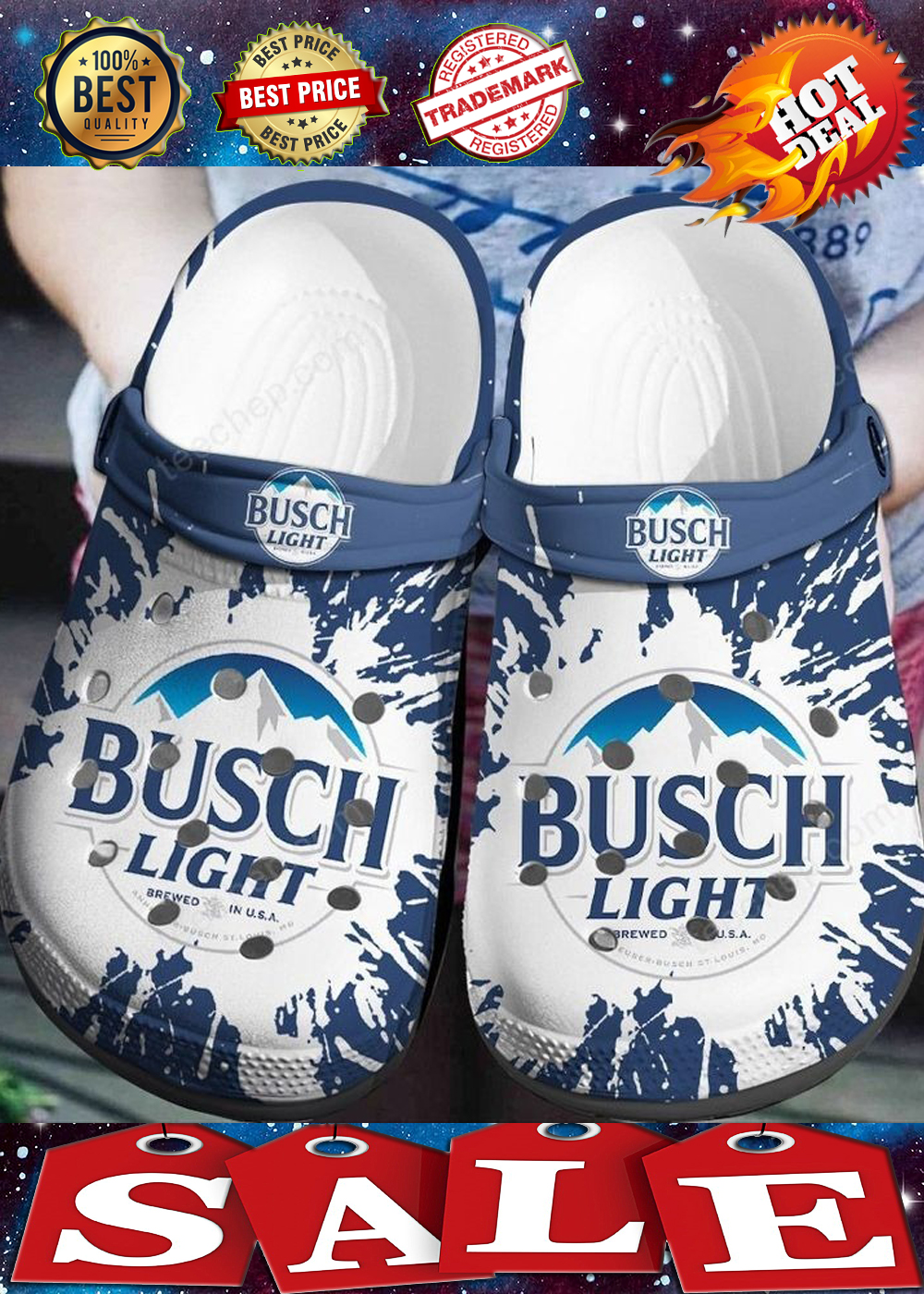 BUSCH LIGHT CROCBAND CROCS SHOES 3