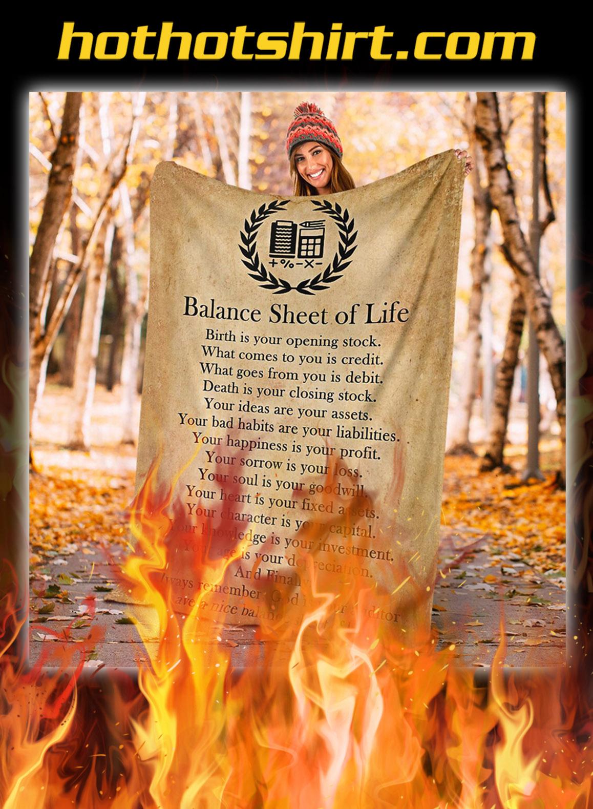 Balance sheet of life blanket- king