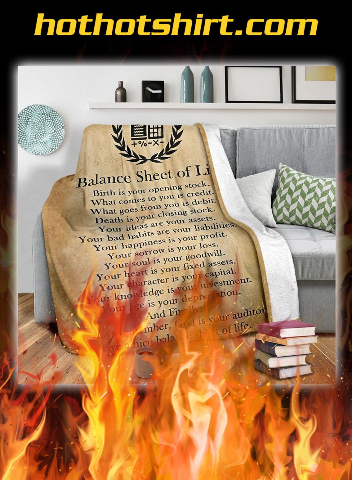 Balance sheet of life blanket- queen
