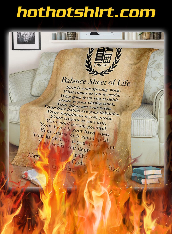 Balance sheet of life blanket- twin