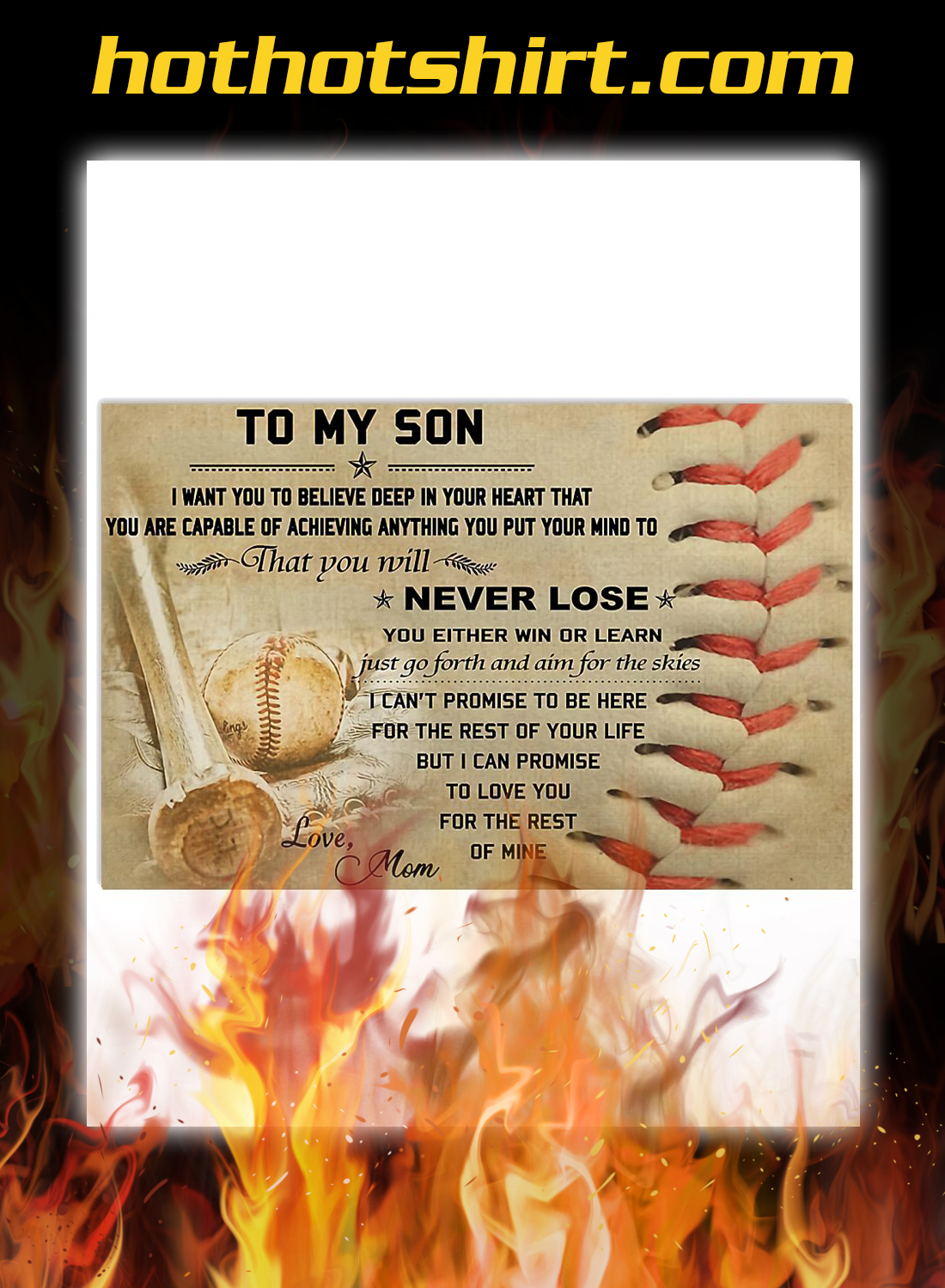 Baseball mom to my son poster 1