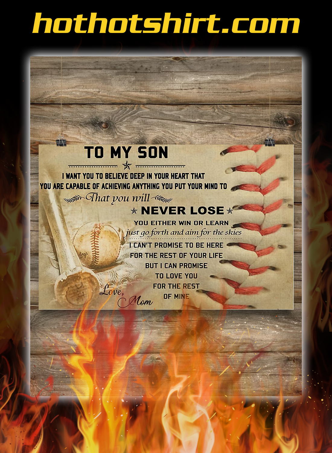 Baseball mom to my son poster