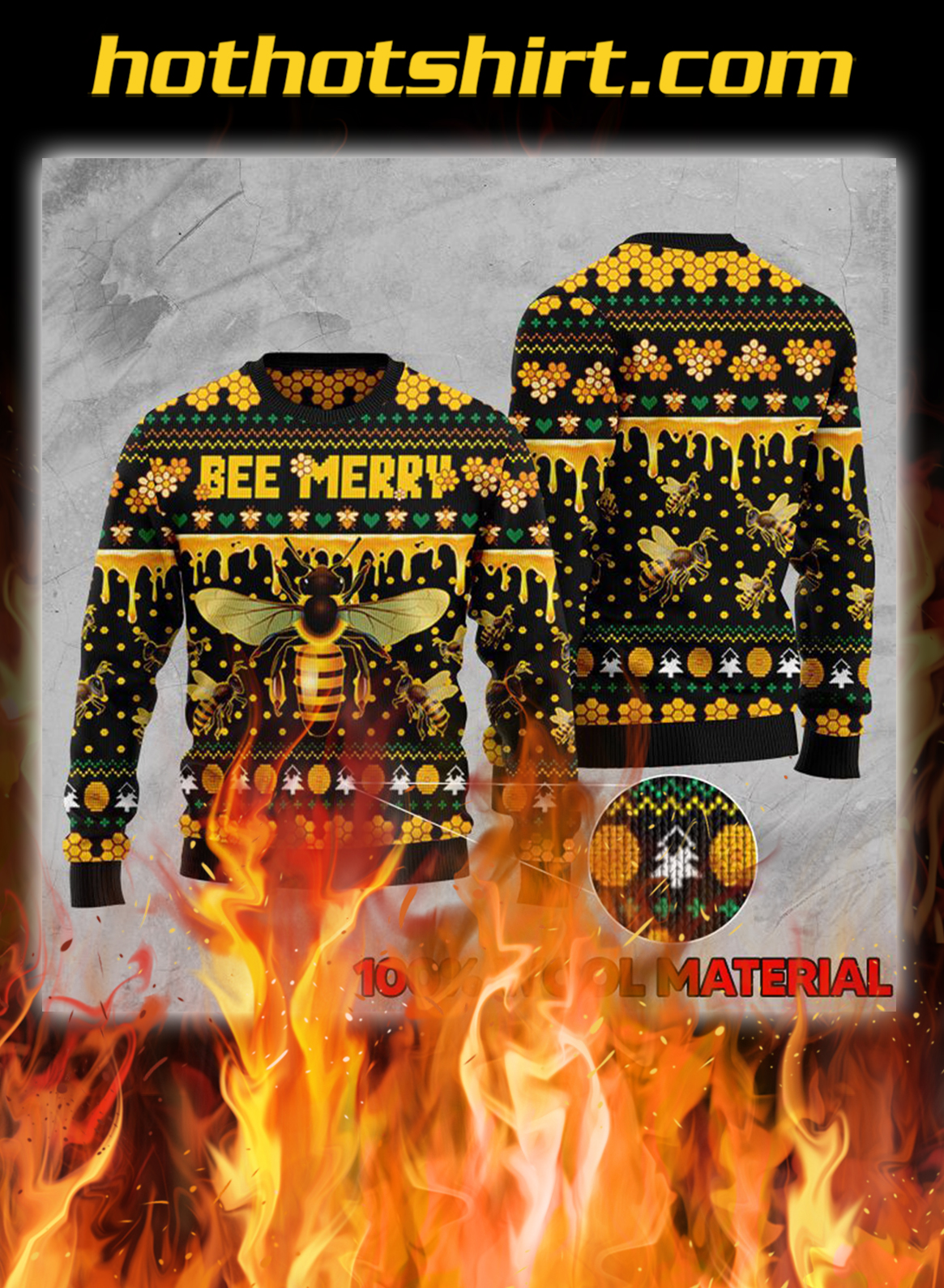 Bee merry ugly christmas sweater- pic 1