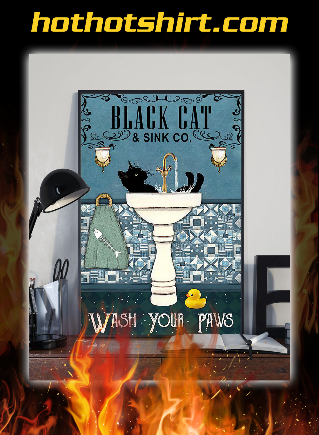 Black cat and sink co wash your paws poster 1