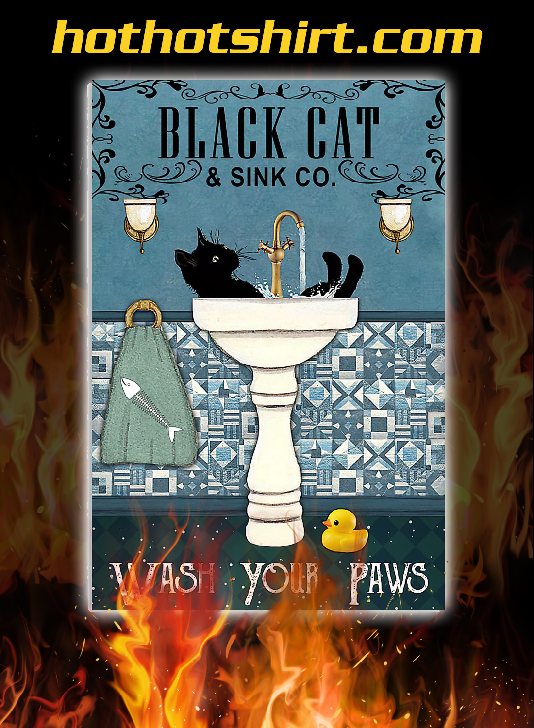 Black cat and sink co wash your paws poster 3
