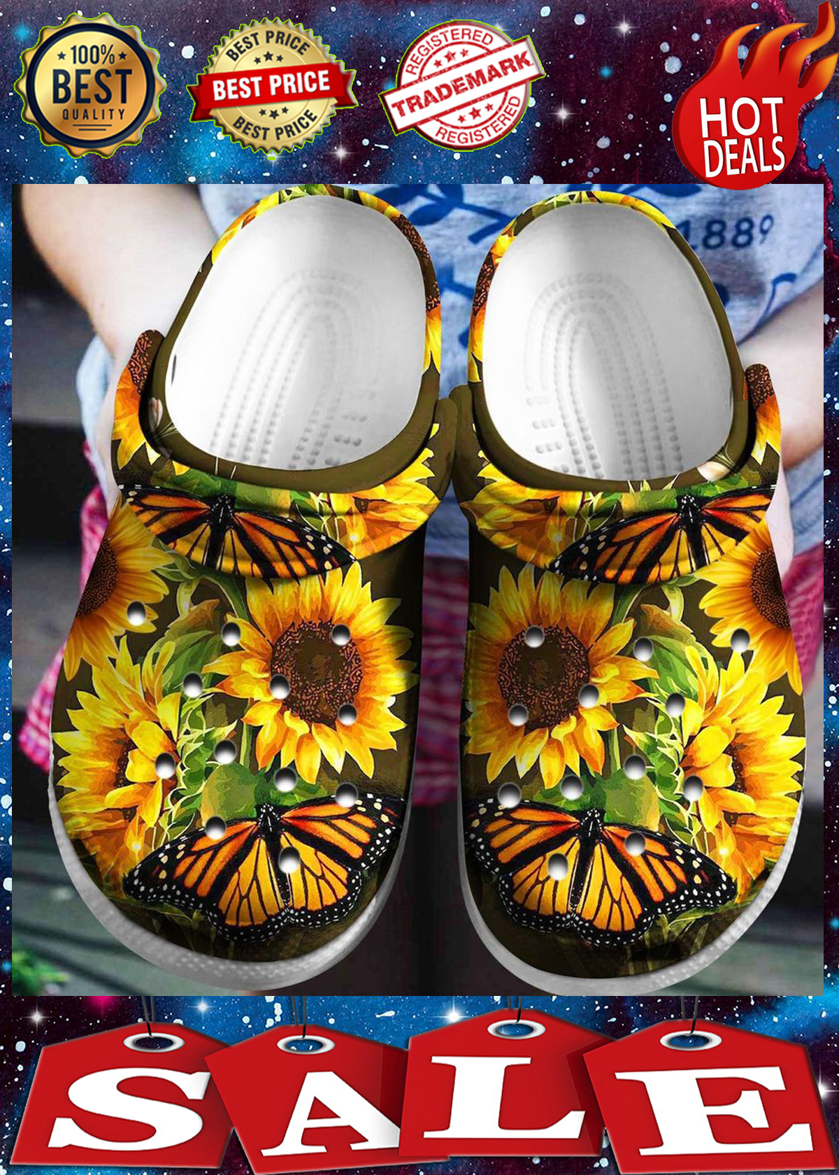 SUNFLOWER BUTTERFLY CROCBAND CROCS SHOES