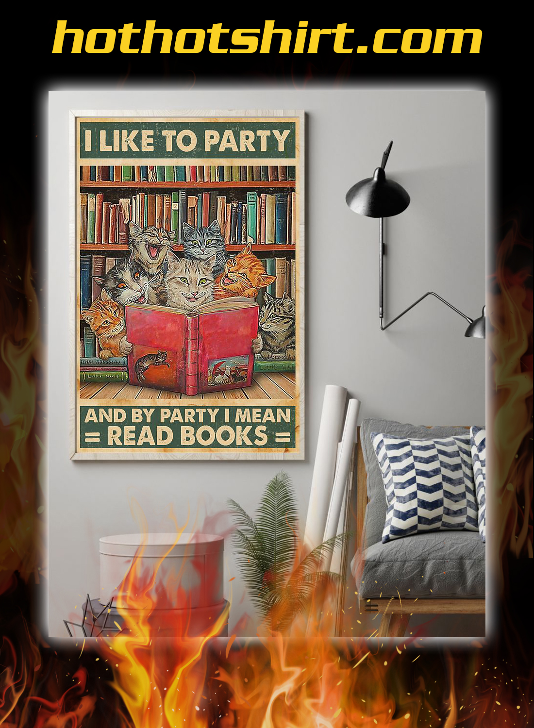 Cat I like to party and by party i mean read books poster 1