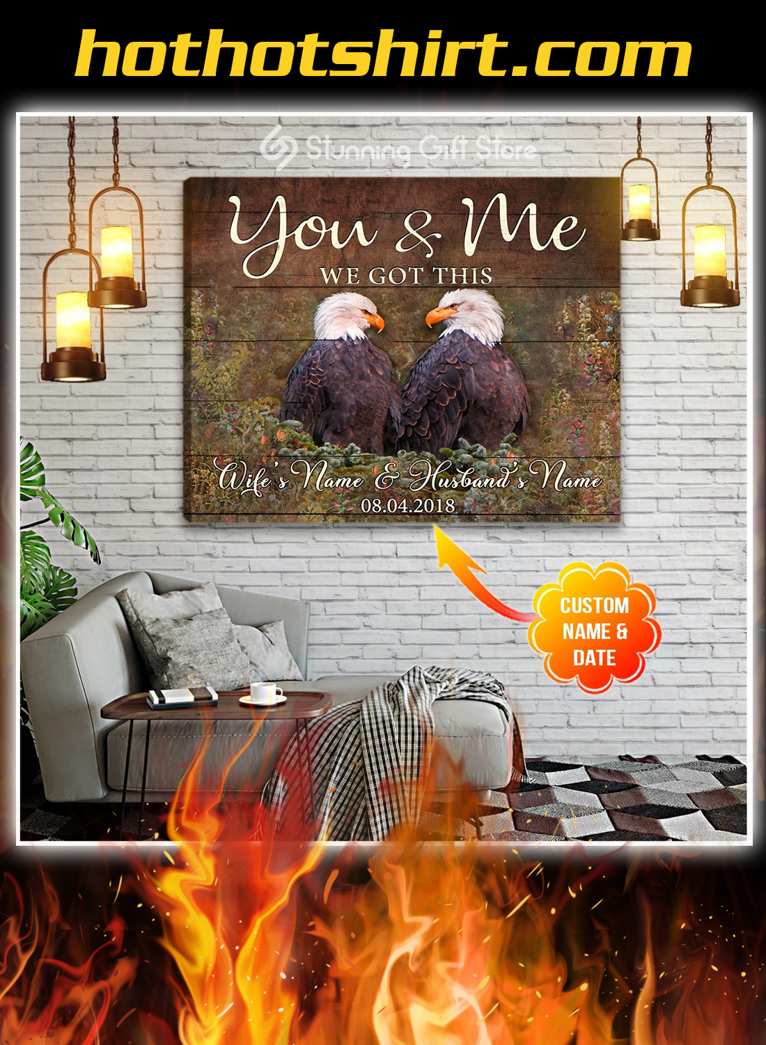 Eagle you and me we got this custom name and date canvas prints 3