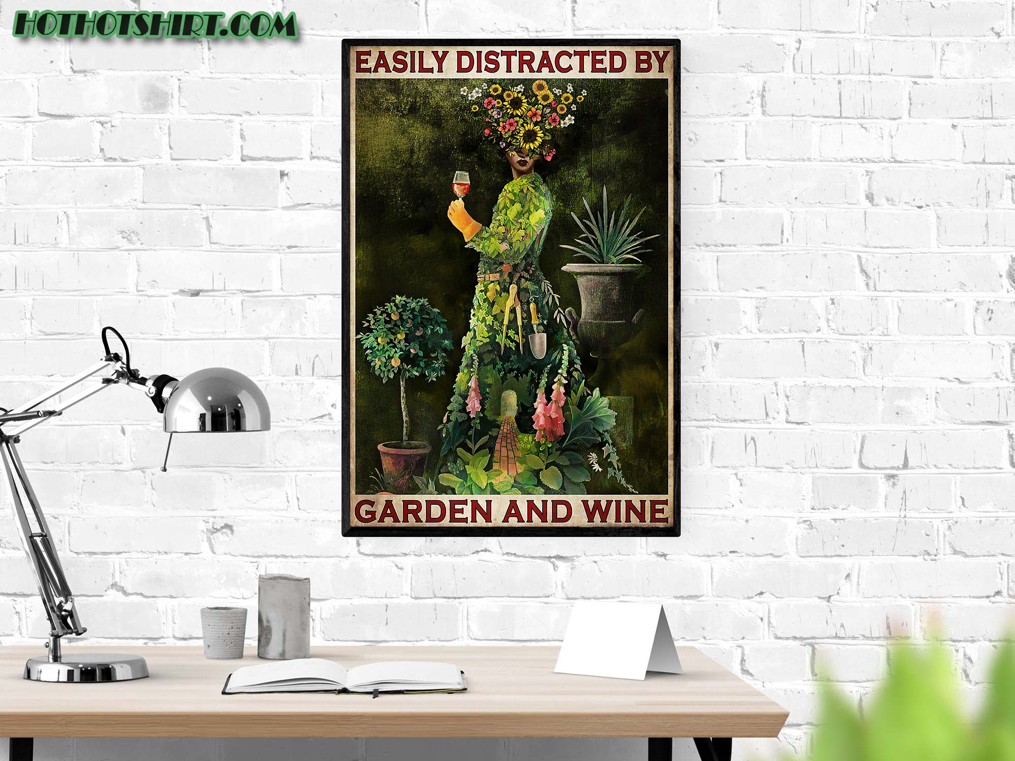 Easily distracted by garden and wine poster 1