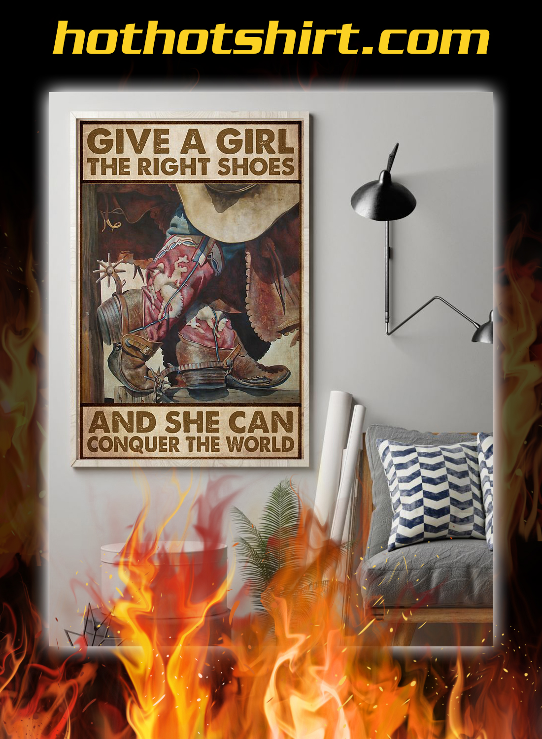 Give a girl the right shoes cowgirl poster 1