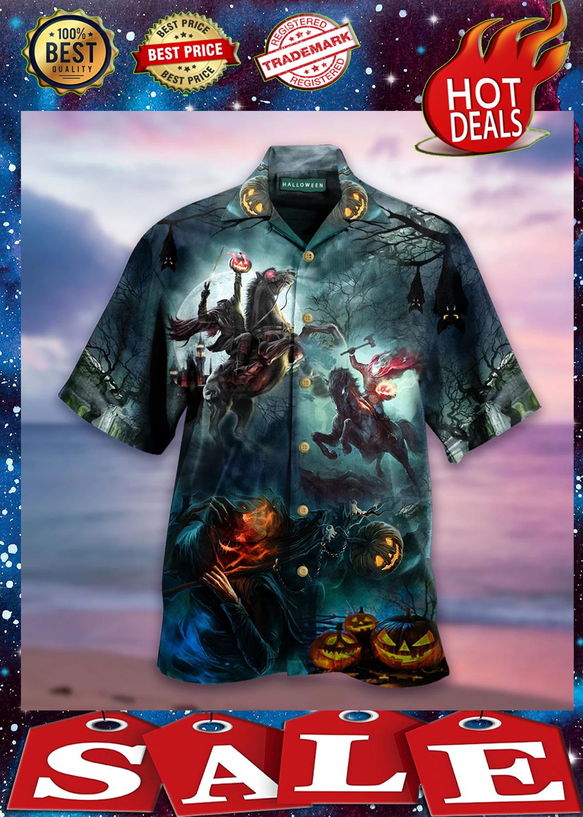 Headless Horseman halloween short sleeve hawaiian shirt