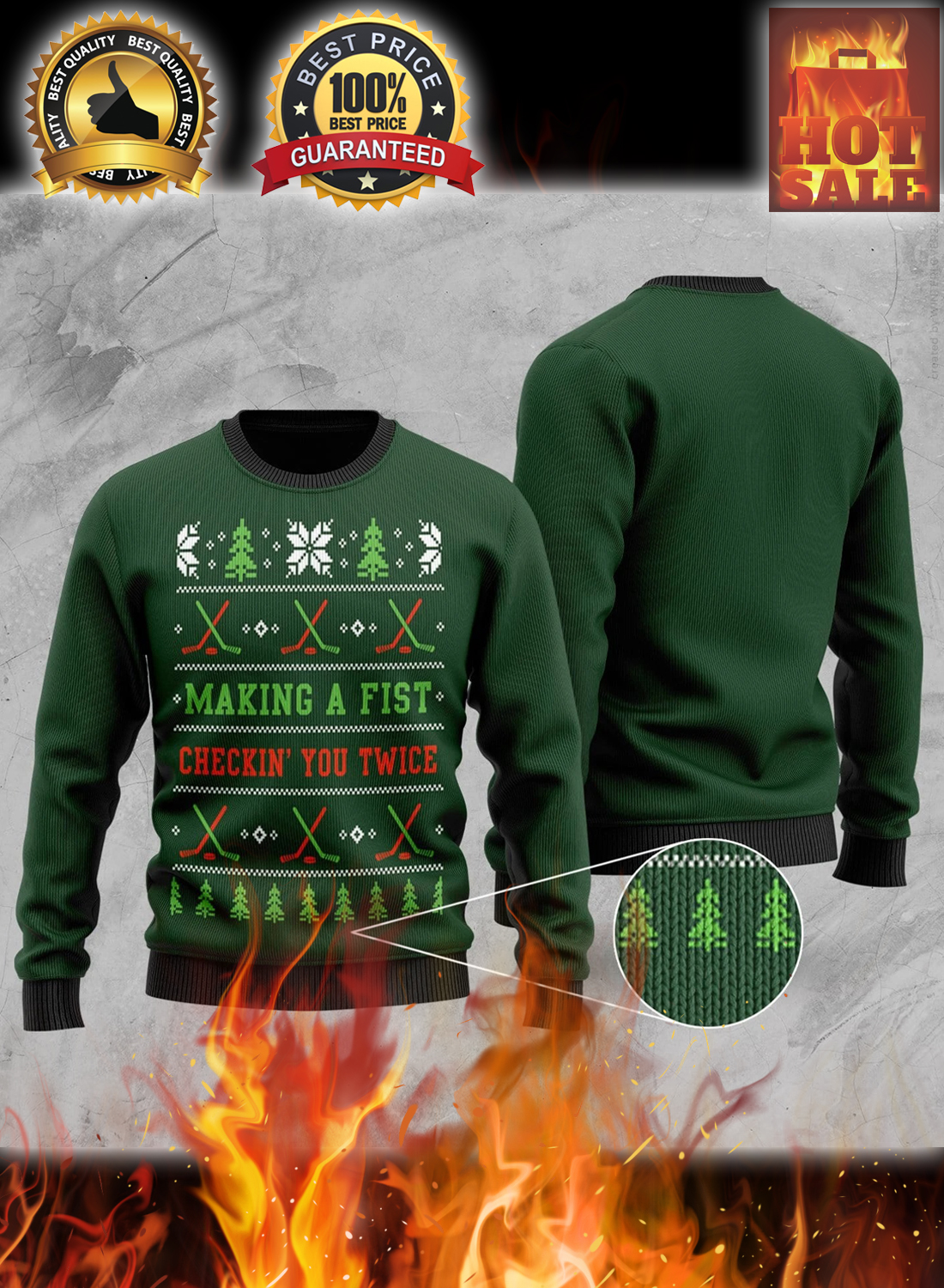 Hockey making a first checking you twice christmas sweater 3