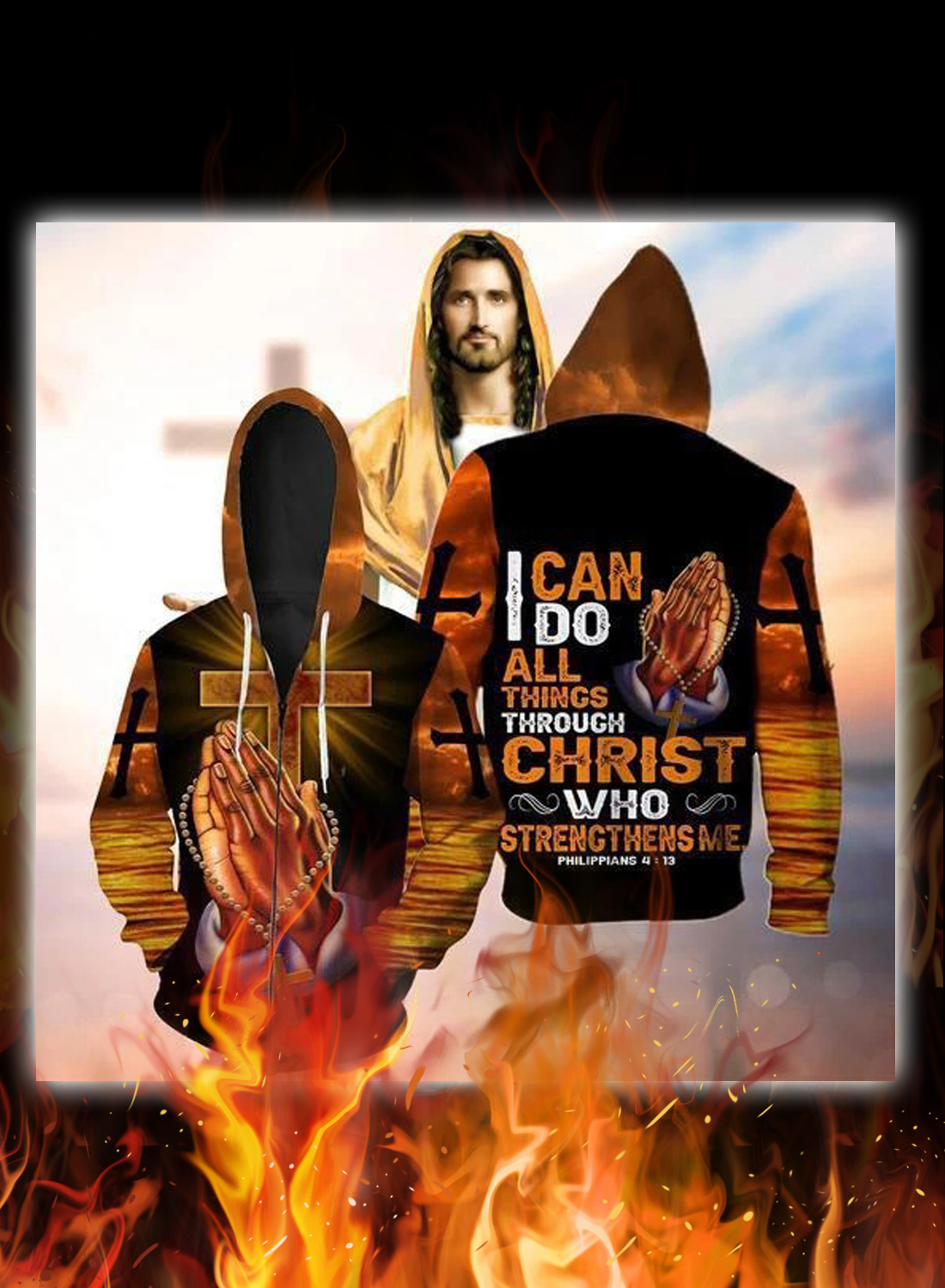 I can do all things through christ hand cross 3d hoodie 1