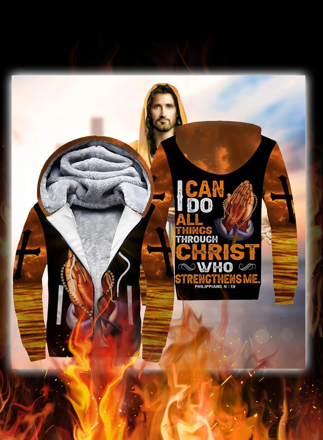 I can do all things through christ hand cross 3d hoodie 2