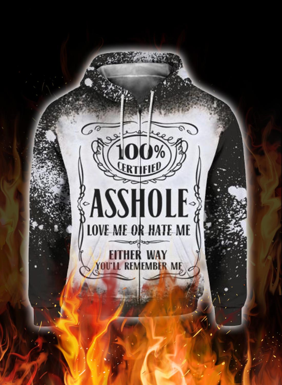 Jack daniel's asshole love me or hate me 3d hoodie 3