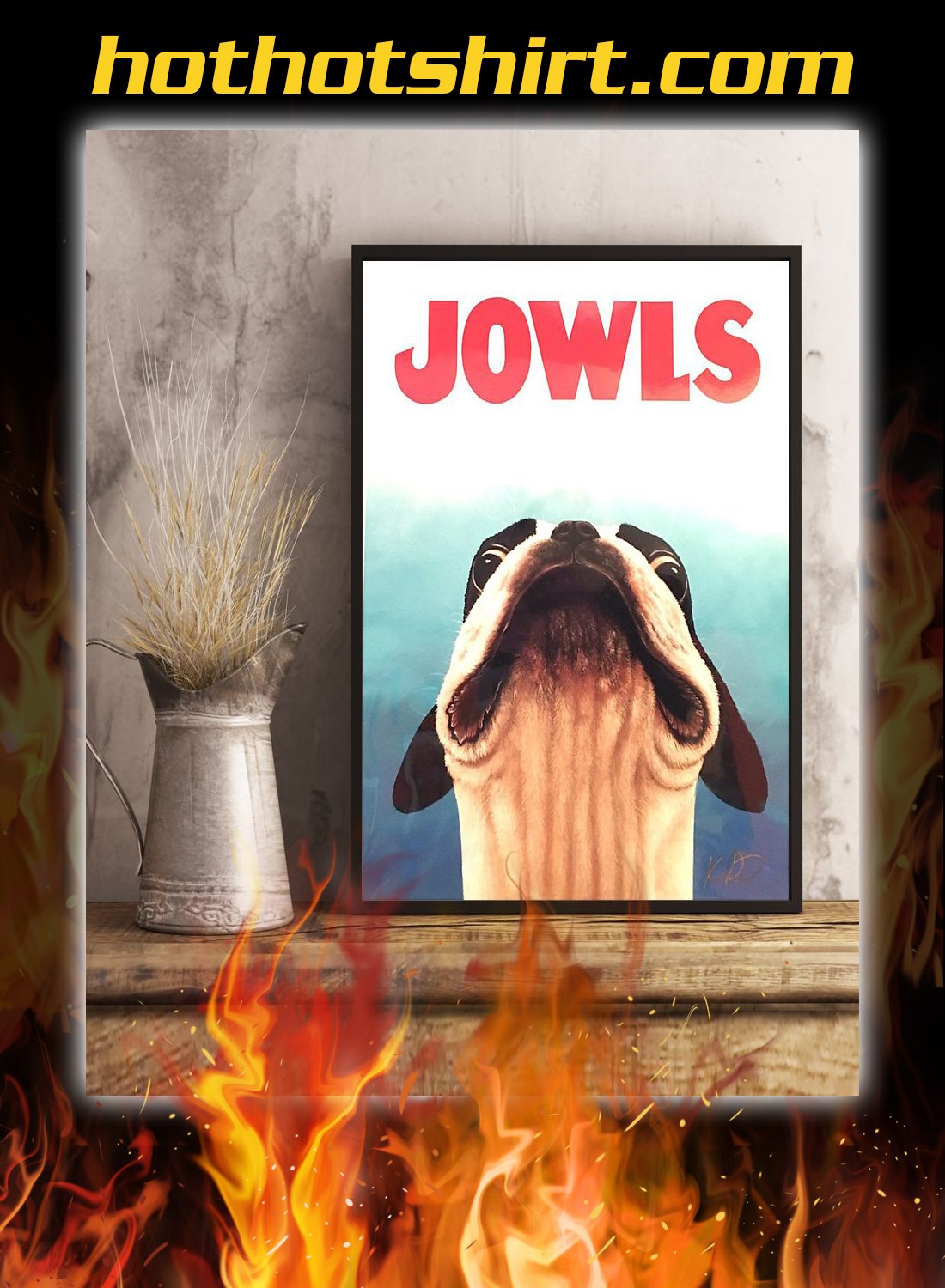 Jowls boston terrier jaws movie poster 2