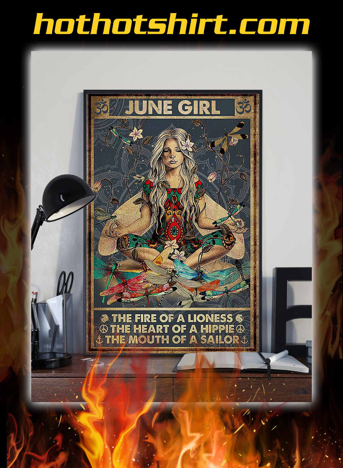 June girl the fire of a lioness yoga poster 2