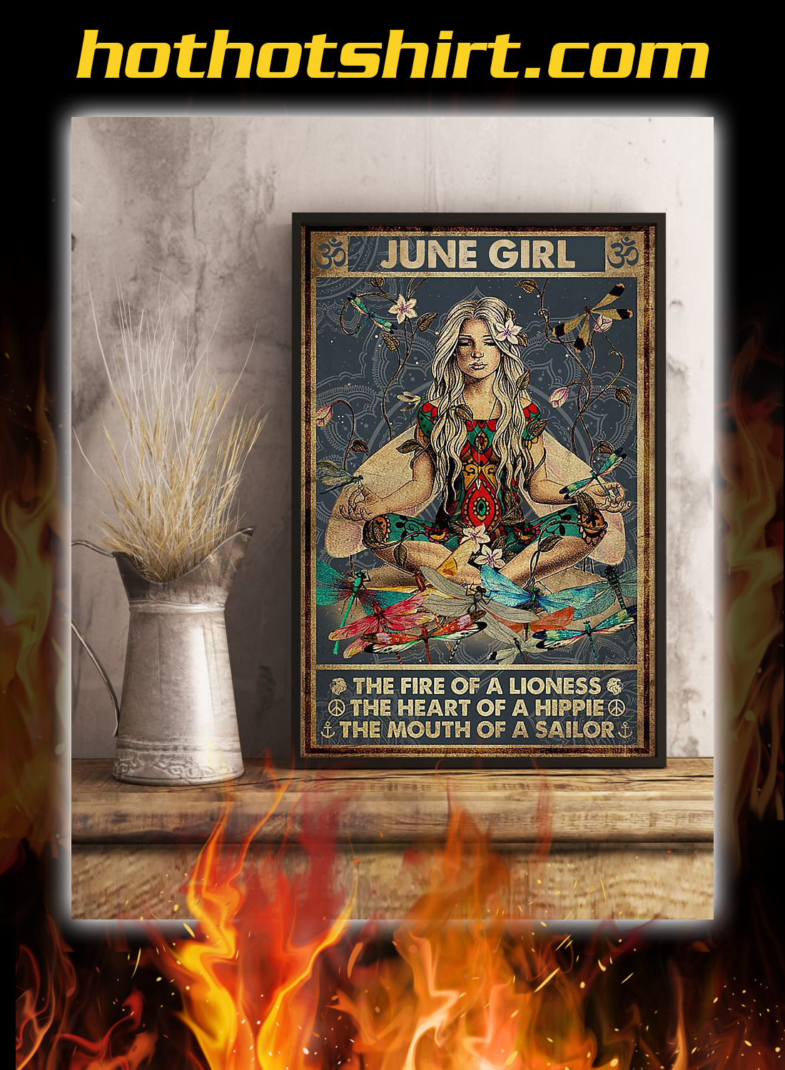 June girl the fire of a lioness yoga poster 3