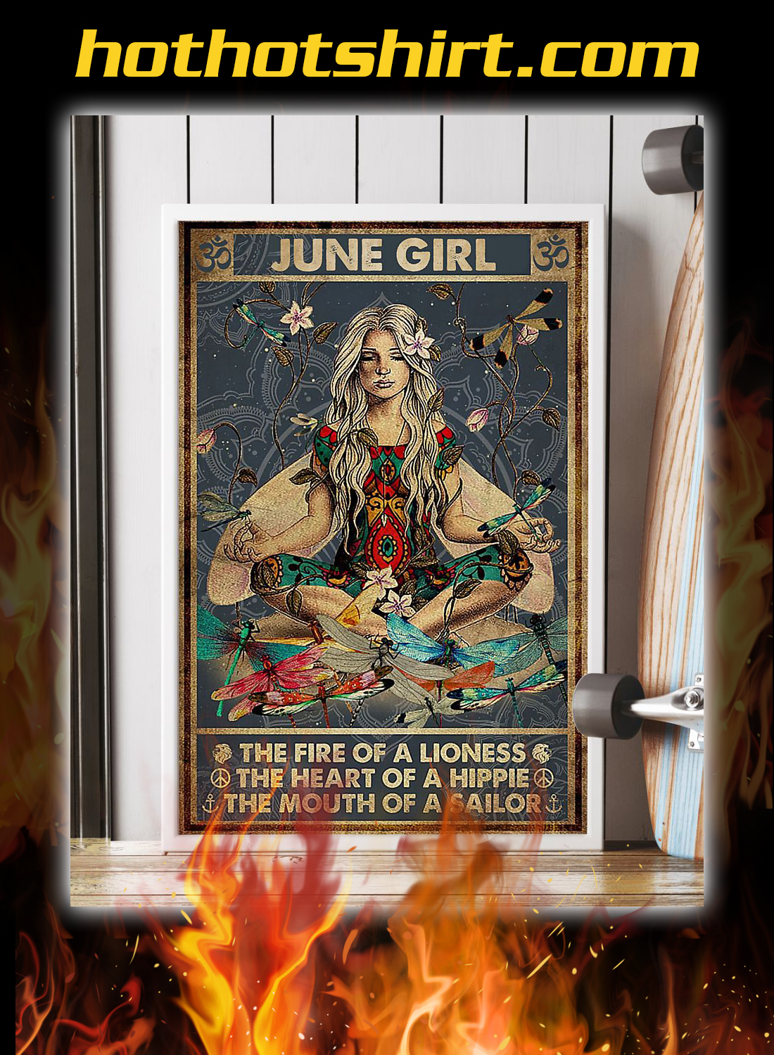 June girl the fire of a lioness yoga poster 4