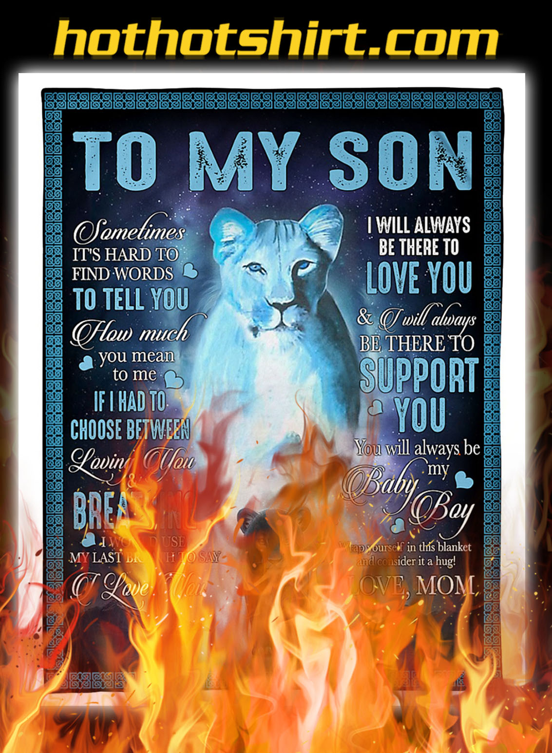 Lion mom to my son blanket - queen