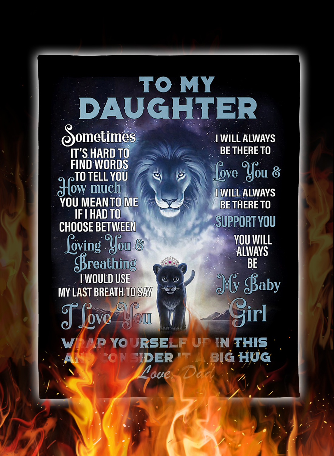 Lion to my daughter love dad blanket 3